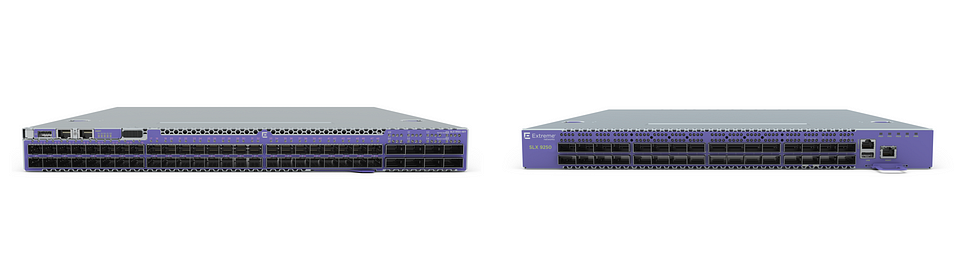 Switch SLX 9150 typu leaf (po lewej) oraz switch SLX 9250 typu spine (po prawej)