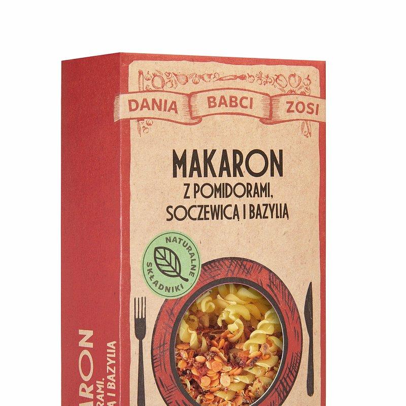 Makaron z pomidorami, soczewicą i bazylią.jpg