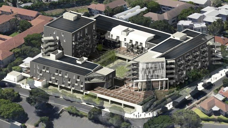 Makeka Design Lab.: Large apartment building with SunRoof solar roofs, Cape Town.