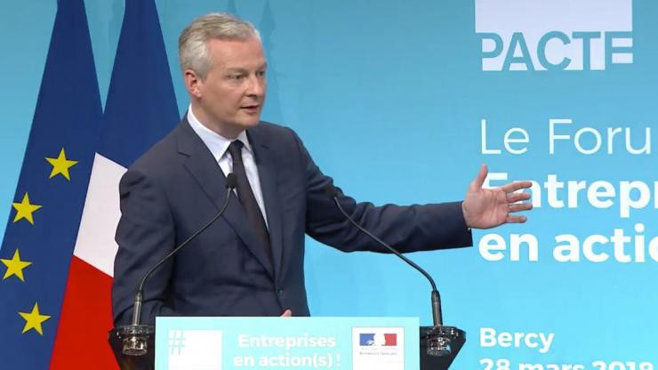 Bruno Le Maire, French Minister of Economy and Finance, introducing PACTE. (source: cbanque)