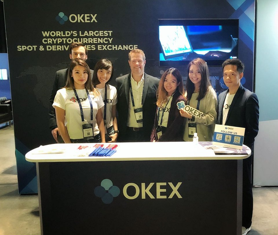 The OKEx team at the venue, ready to meet and greet every visitor of the event.