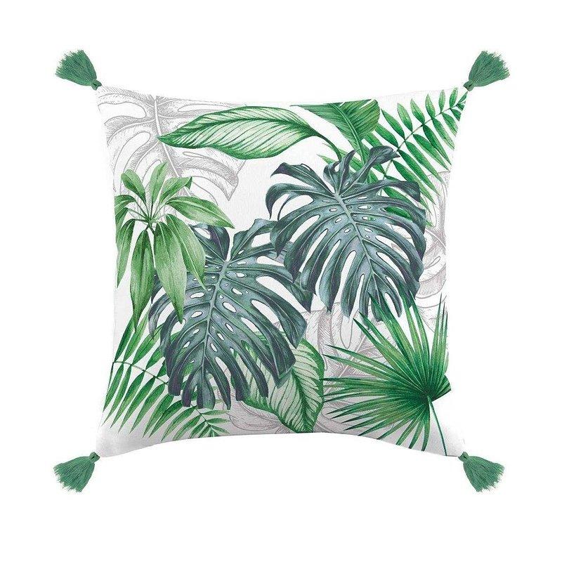 Poduszka dekoracyjna z frędzlami DOUCEUR D_INTERIEUR Tropical Chic, motyw monstery, 40x40 cm 49,99 zł.jpg