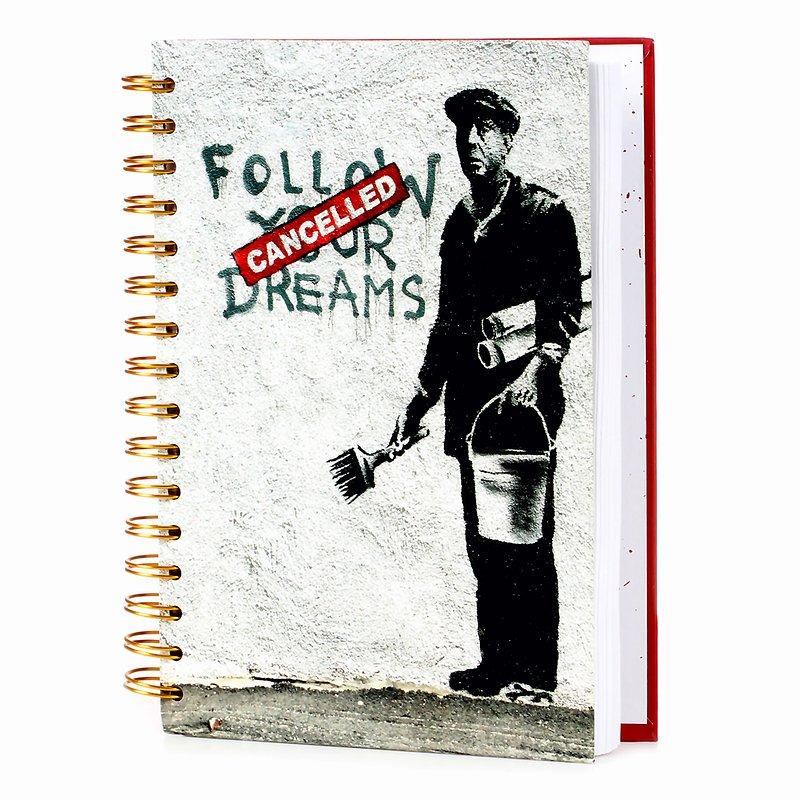 Banksy, Kołonotatnik, A5, Follow your dreams, 120 kartek 24,99 zł.jpg
