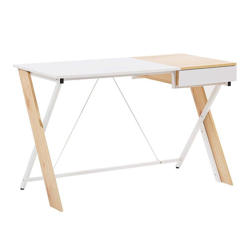 516,36 zł Biurko 120 x 60 cm jasne drewno z białym HAMDEN.jpg