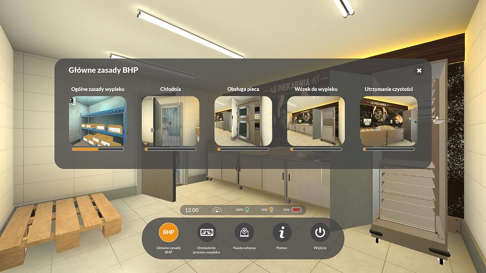 Fragment szkolenia za pomocą gogli VR w Biedronce