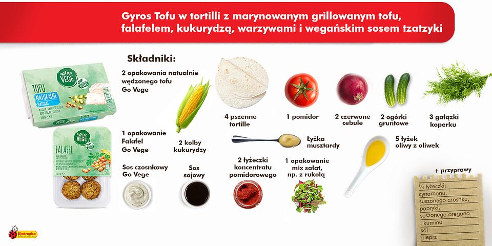 Przygotuj gyros tofu w tortilli z marynowanym grillowanym tofu, falafelem, kukurydzą, warzywami i wegańskim sosem tzatzyki