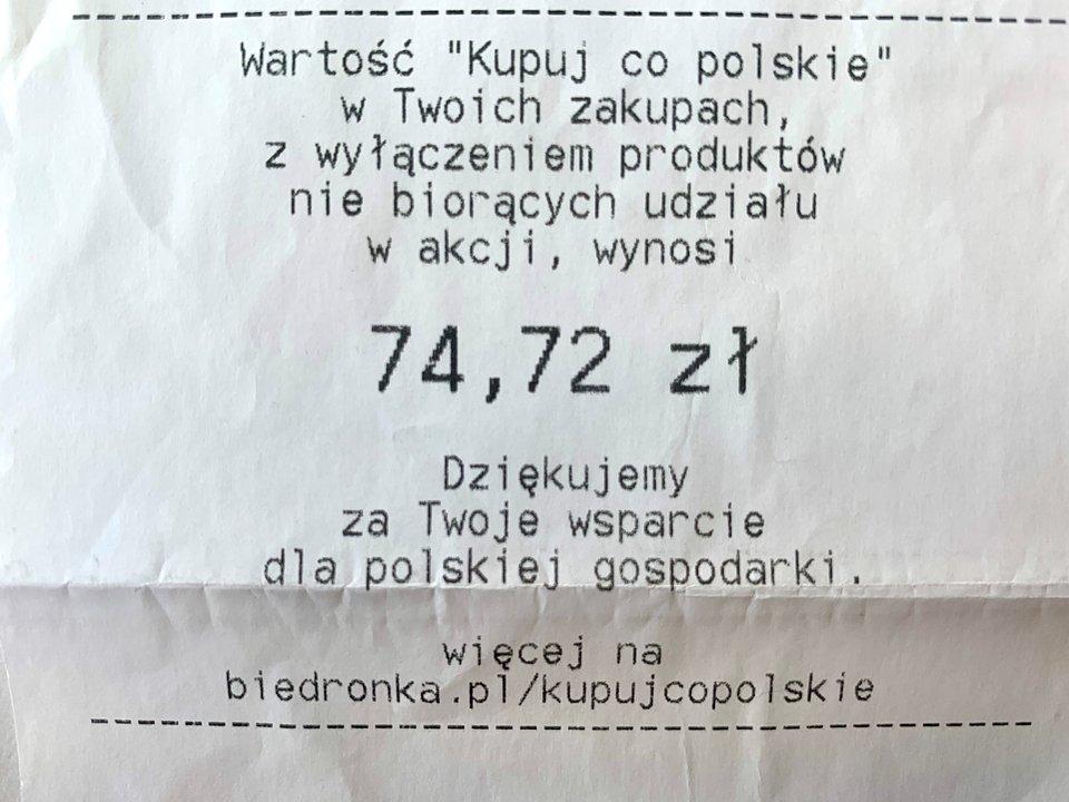 Przykładowy paragon ze sklepu Biedronka, z zaznaczoną kwotą akcji