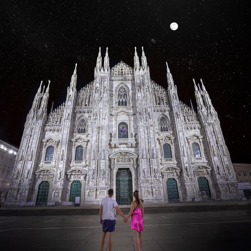 'A beautiful moment watching the moon rise in Milan with my love', Italy.jpg