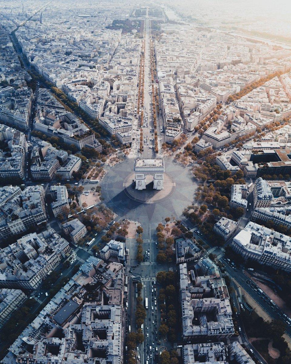 Vertical panorama of Paris' Arc de Triomphe, where 12 avenues come together (Henry Do/Agora)
