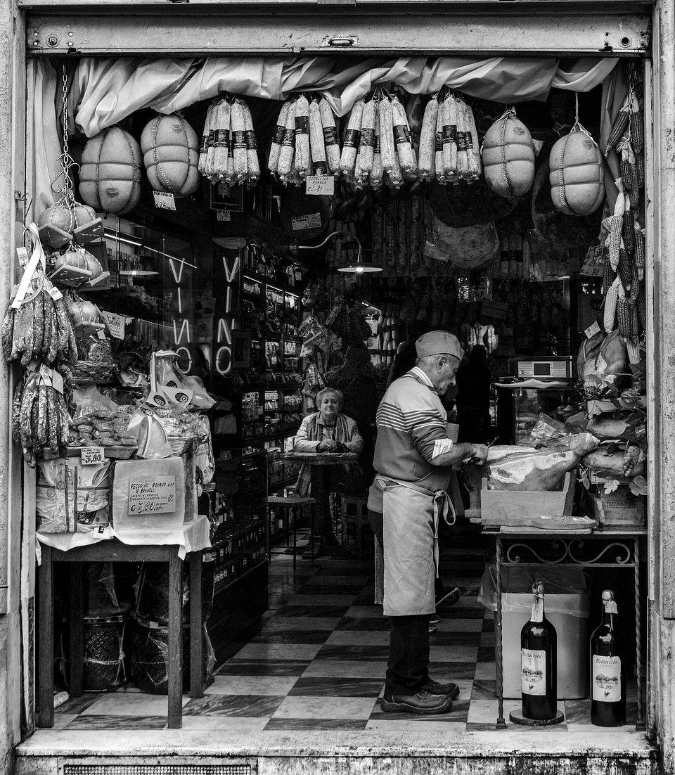 Pictured in a salami shop in Rome, Piazza de la Rotonda. (Paula Aranoa /Agora)