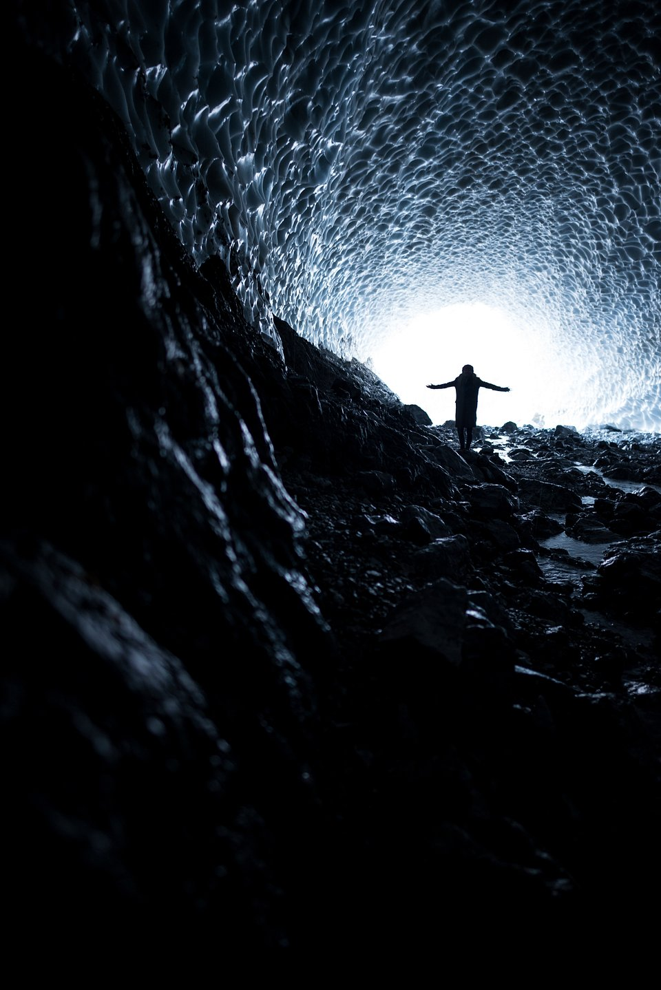 A silhouette being hugged by the light in the Eiskapelle ice cave in Bavaria, Germany. A kind reminder that there's always light at the end of a dark tunnel. (Maximilian Dreher/Agora)