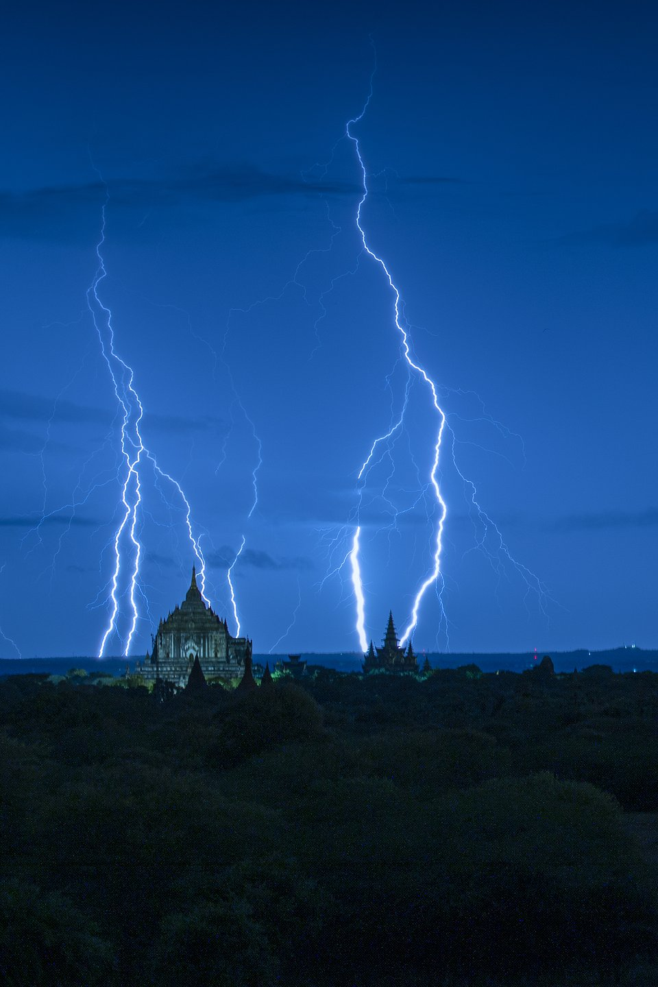 This electric shot was captured in Bagan, Myanmar during its rainy season in August. (Naing Tun Win/Agora)