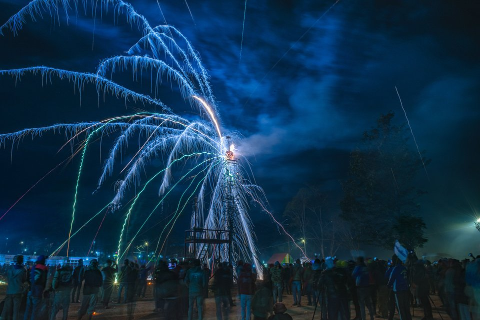 The electricity of the fireworks light up the sky. Taken at Shan State, the annual fireworks festival in Kalaw, Myanmar. (Phyo Moe/Agora)