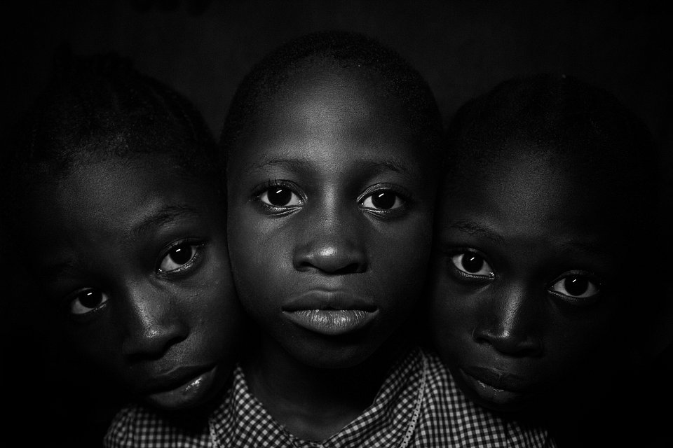 @dolapobolu uses the eyes of the girls to draw attention to the challenges faced by female children in Nigeria. (Agora)