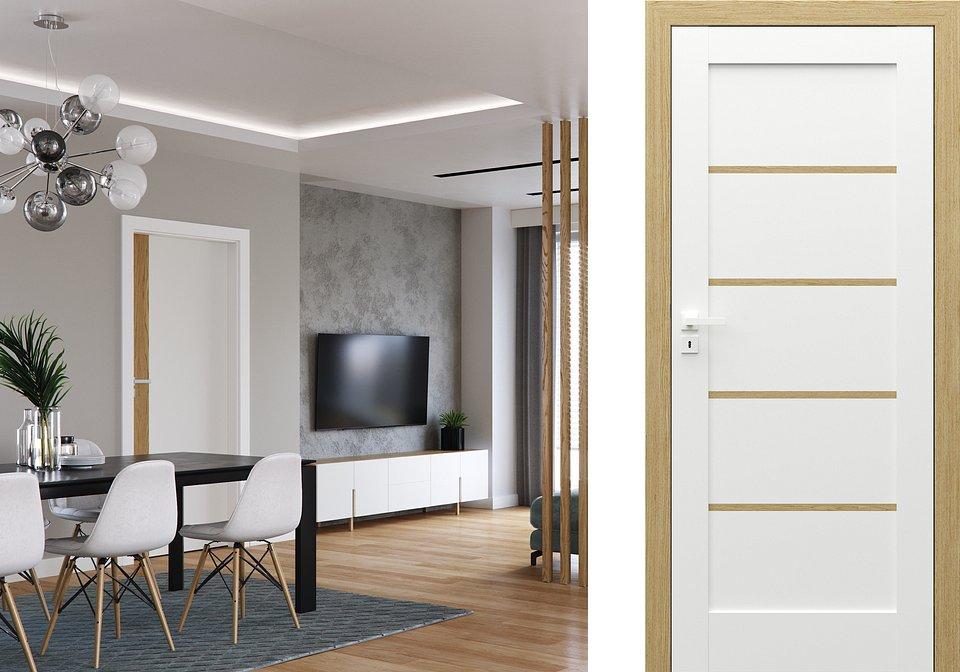 Kolekcja Porta DUO (aranż po lewej) model 4.0, lakier UV i kolekcja Porta GRANDE ( model F0 po prawej)