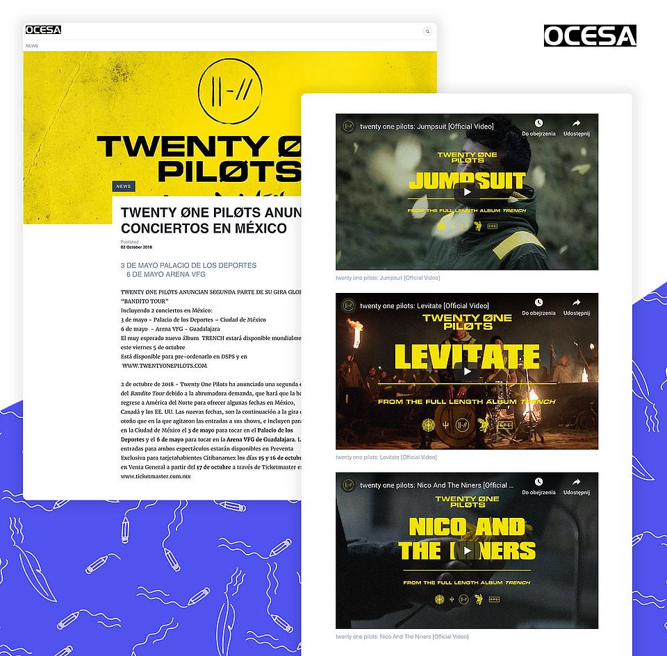 OCESA promoting the Twenty One Pilots' tour