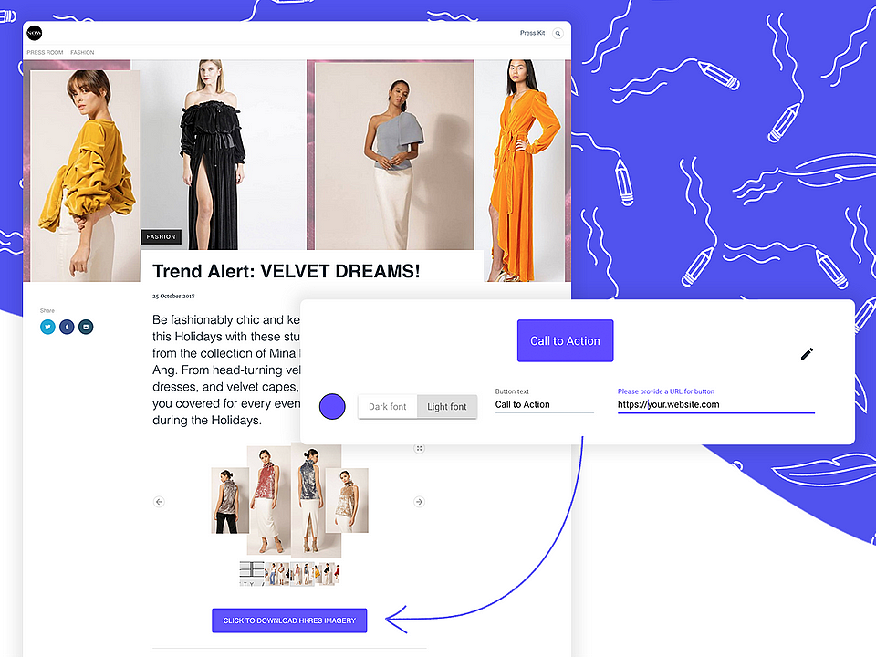 Press release with CTA by Nowprla: a full service boutique fashion agency specializing in Brand Development and Public Relations