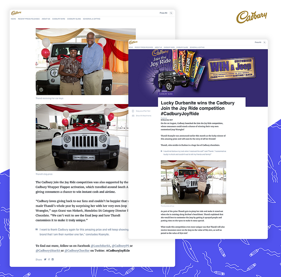 Captioned images in Cadbury's press releases