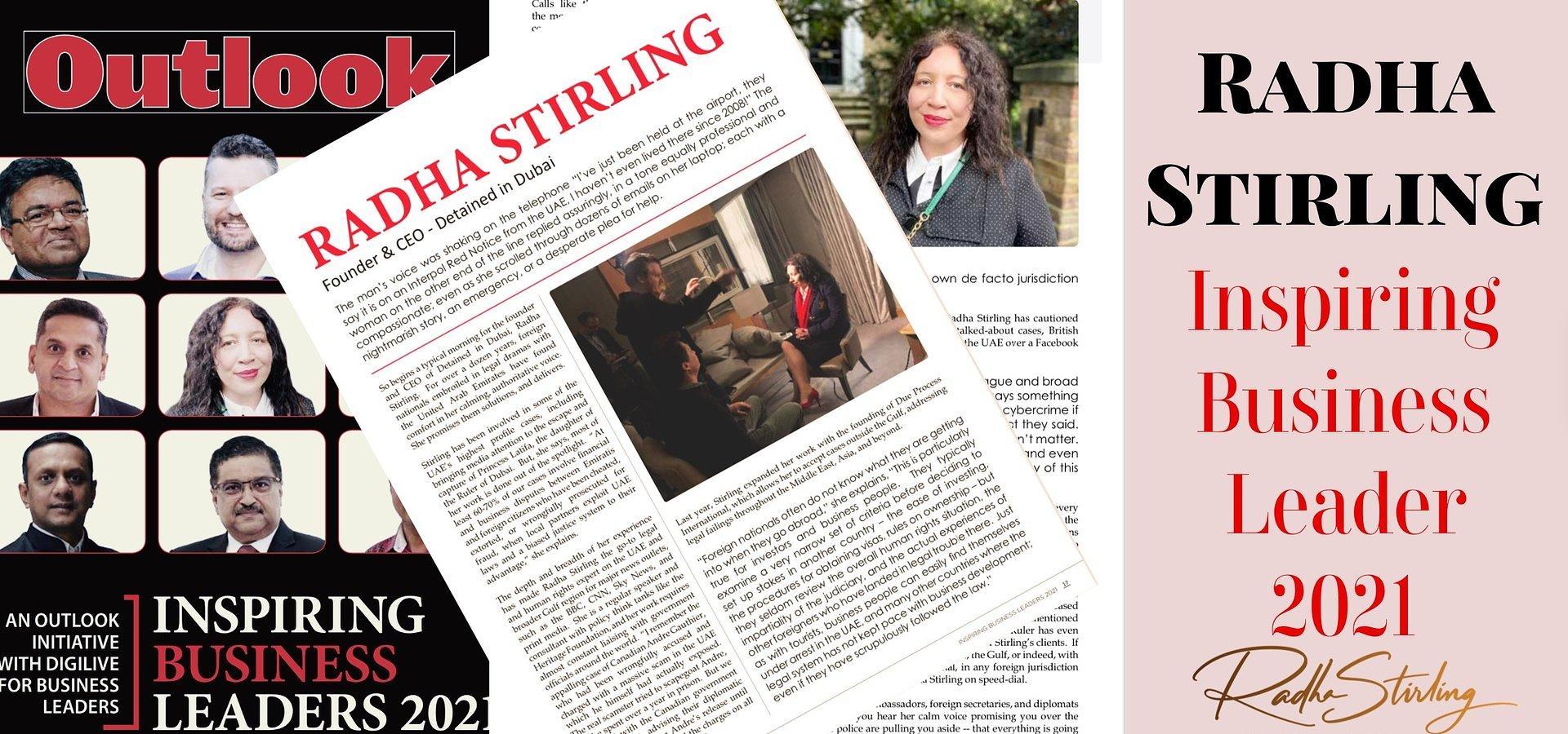 Radha Stirling - Inspiring Leader 2021 Magazine Feature