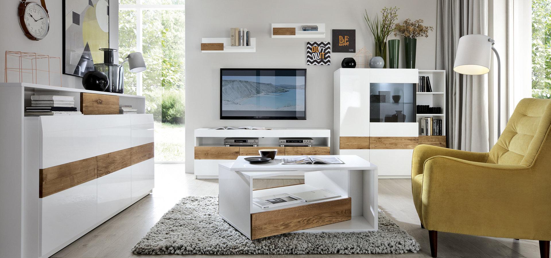 Nowoczesna biel i ponadczasowe drewno w Twoim salonie