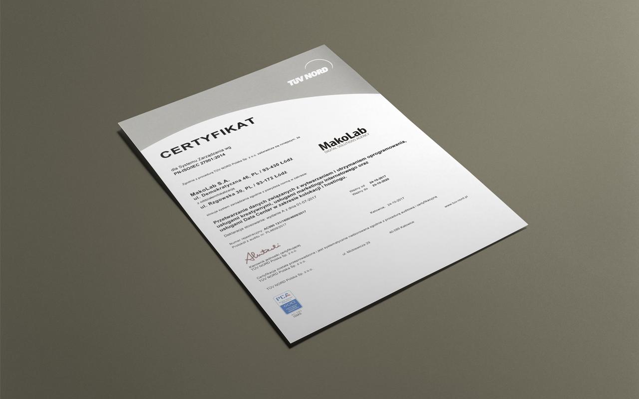 MakoLab z certyfikatem ISO 27001