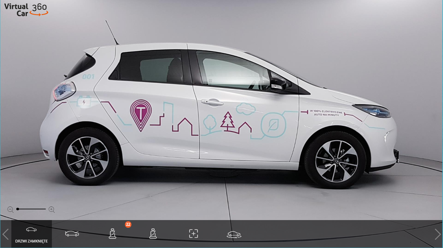 The 100% electric car Renault ZOE in 360 view available via Virtual Car 360 Player