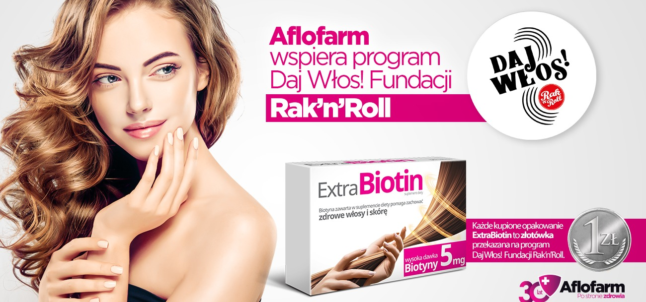 """Aflofarm rozpoczyna współpracę z Fundacją Rak'n'Roll. Każde kupione opakowanie ExtraBiotin to złotówka dla programu """"Daj Włos!"""""""
