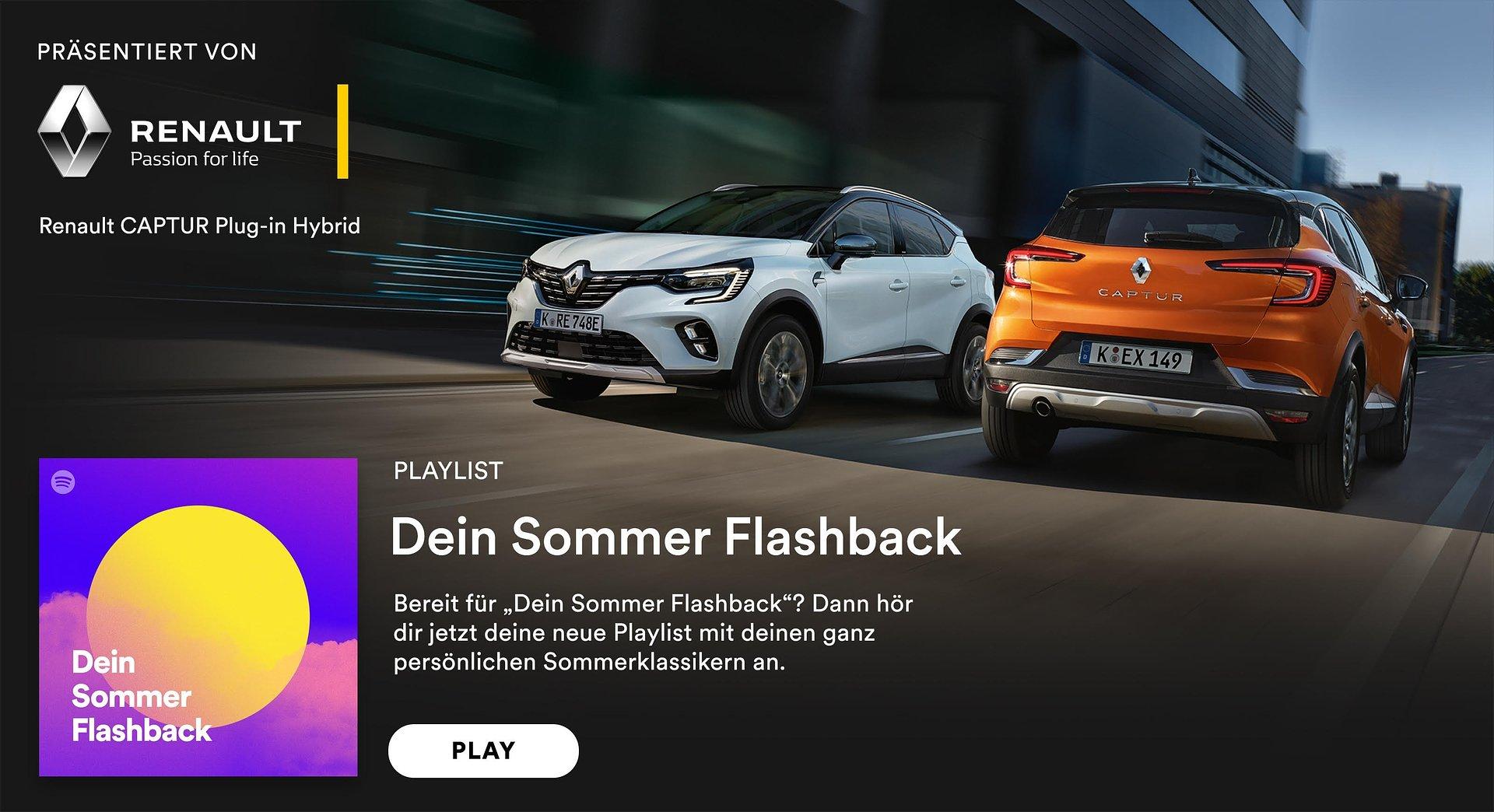 """Renault ist Sponsor der            """"Dein Sommer Flashback"""" Playlist"""