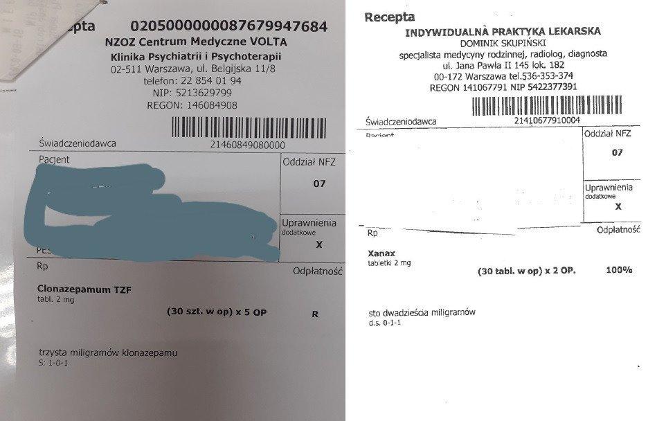 Clonazepamum TZF oraz Xanax - sfałszowane recepty w Warszawie
