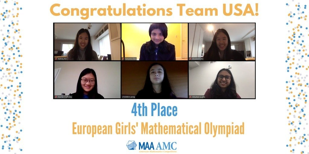 Team USA Earns Fourth Place in 2020 European Girls' Mathematical Olympiad