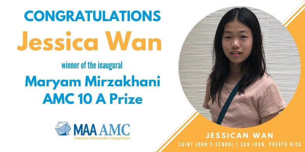 Mathematical Association of America Announces the Winners of the Inaugural Maryam Mirzakhani AMC 10A Prize & Awards to Support Women in Mathematics