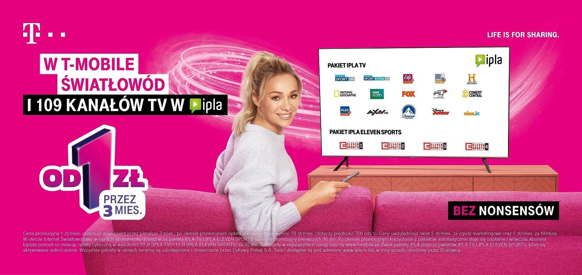 Światłowód i dostęp do rozrywki od T-Mobile w ekstra cenie – od 1 zł przez 3 miesiące