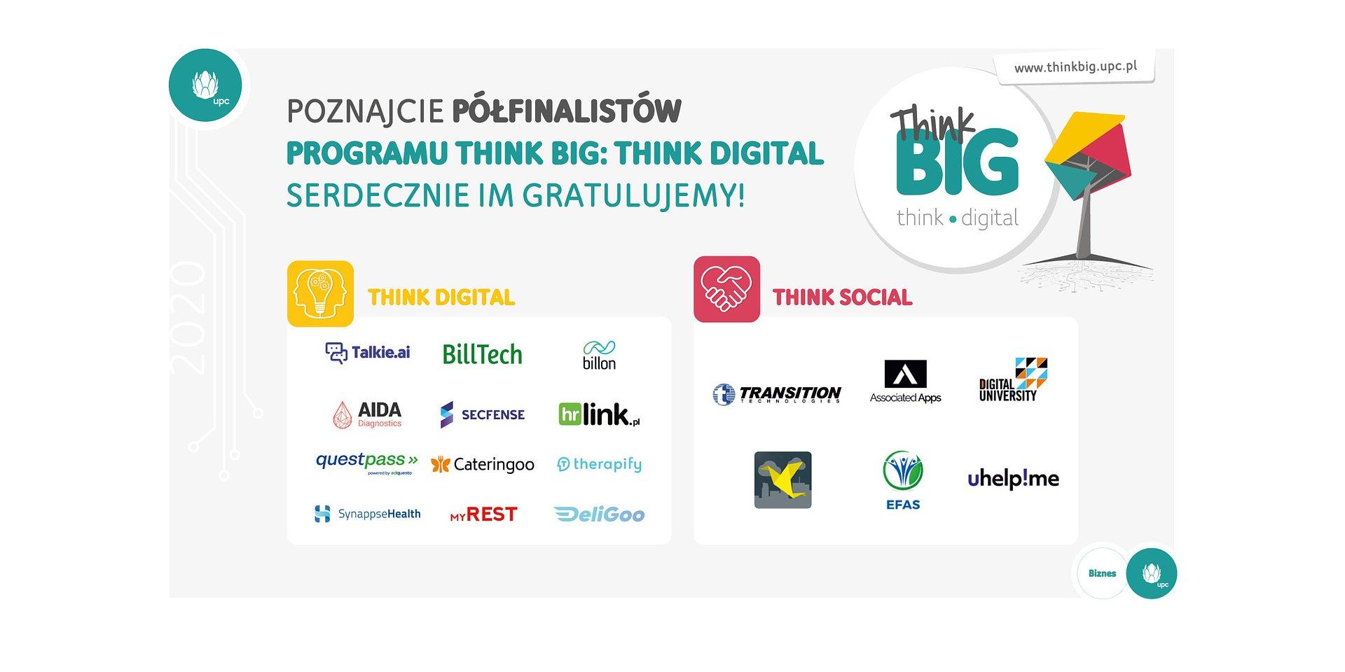 Półfinaliści programu UPC Polska Think Big: Think Digital wybrani!