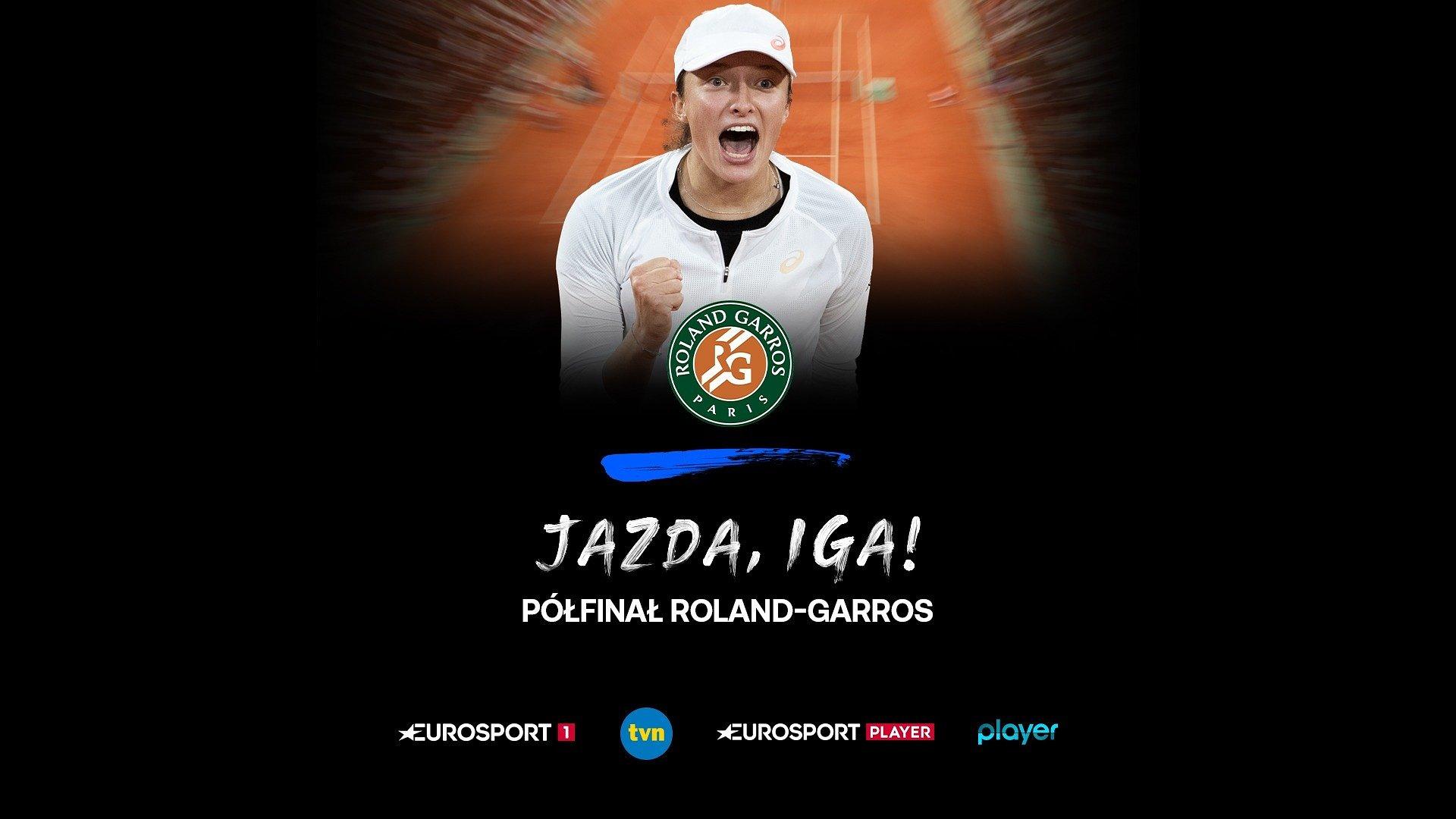 Półfinałowy mecz Igi Świątek w Roland-Garros w kanałach Eurosport 1 i TVN oraz serwisach Eurosport Player i player.pl