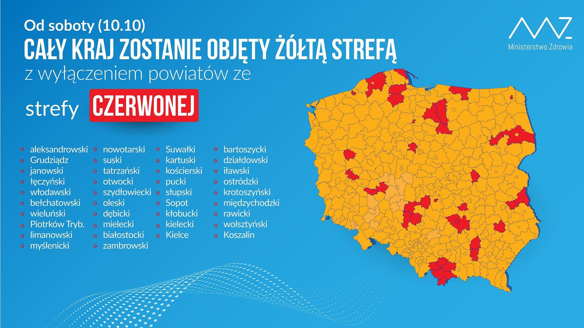 Polska żółta w czerwone kropki. Zaostrzenie zasad przeciwepidemicznych