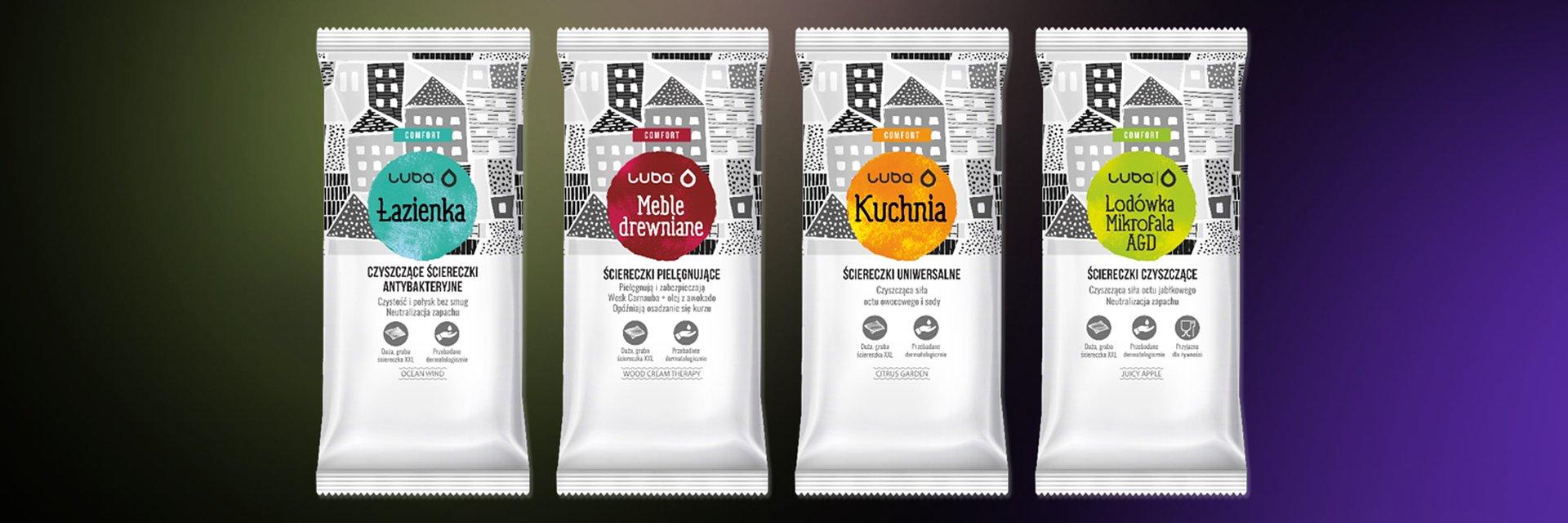 Chusteczki czyszczące LUBA w opakowaniach zaprojektowanych przez FENO
