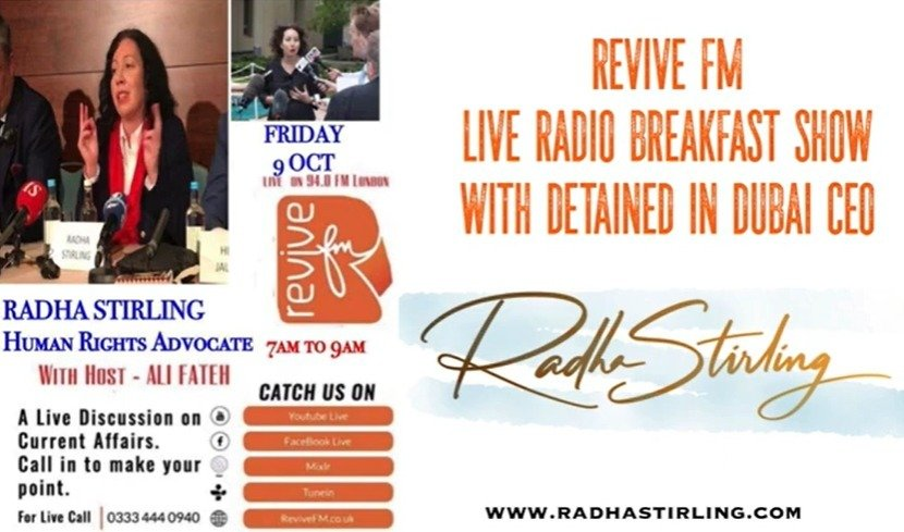 Radha Stirling in depth with Revive FM - Israel peace deals, Princess Latifa & Middle East justice