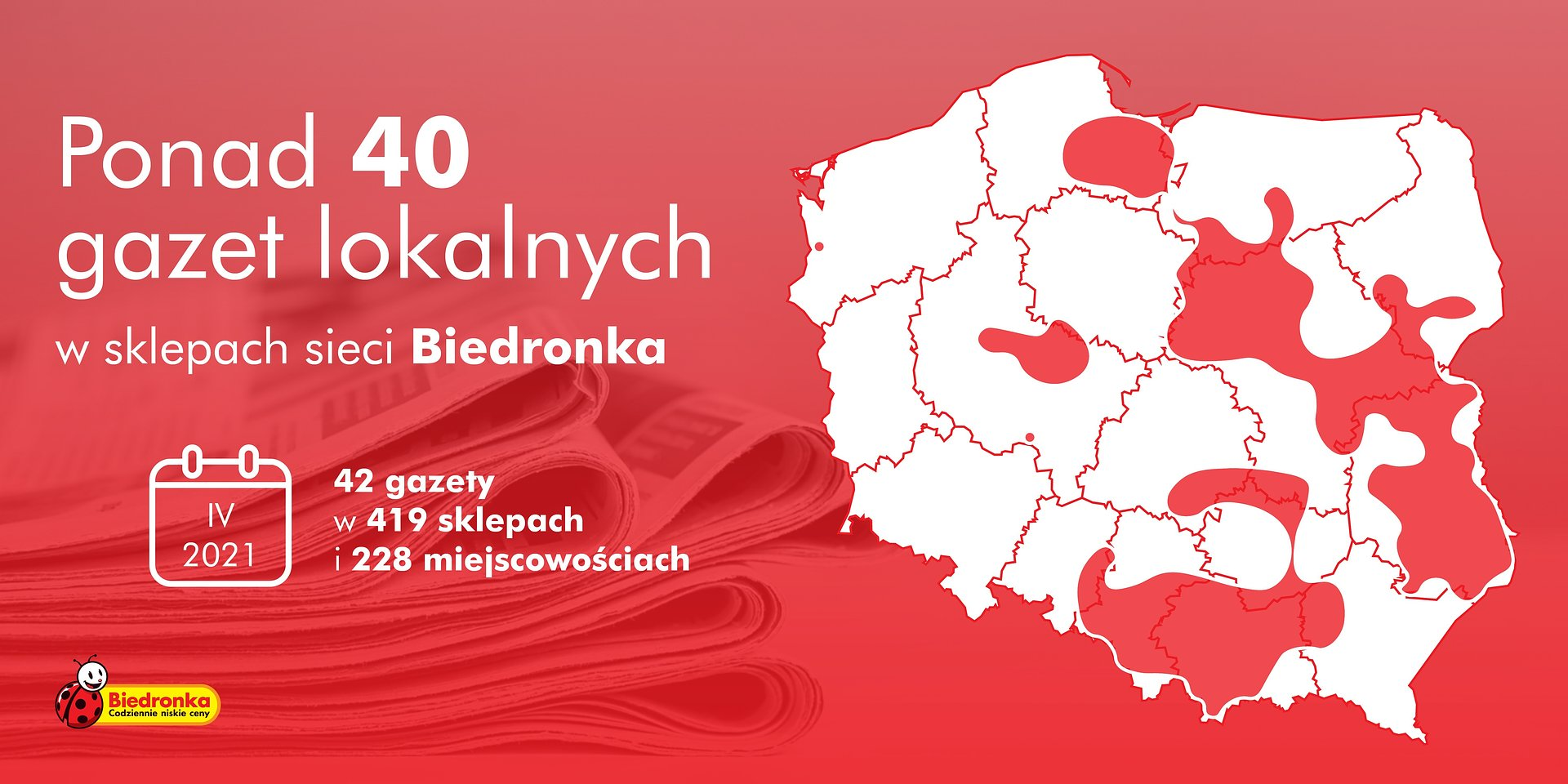Jeszcze więcej gazet lokalnych w sklepach sieci Biedronka
