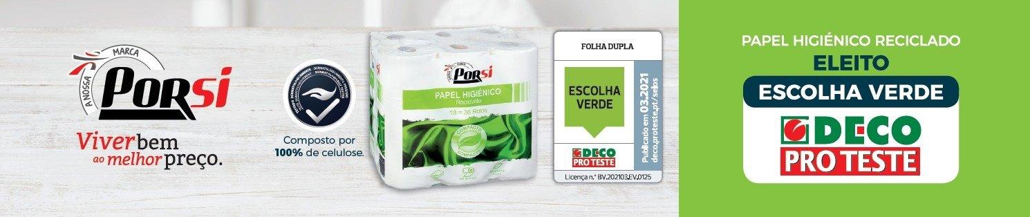 """Papel higiénico reciclado PorSi do Intermarché é a """"Escolha Verde"""" da DECO Proteste"""