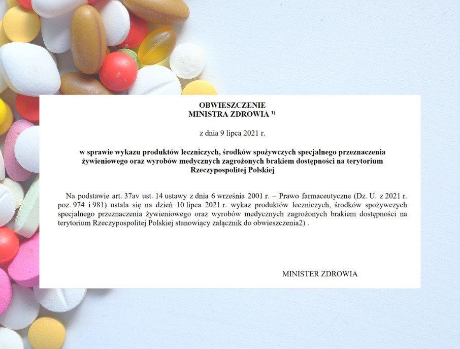 Leki zagrożone brakiem dostępności - lipcowy wykaz