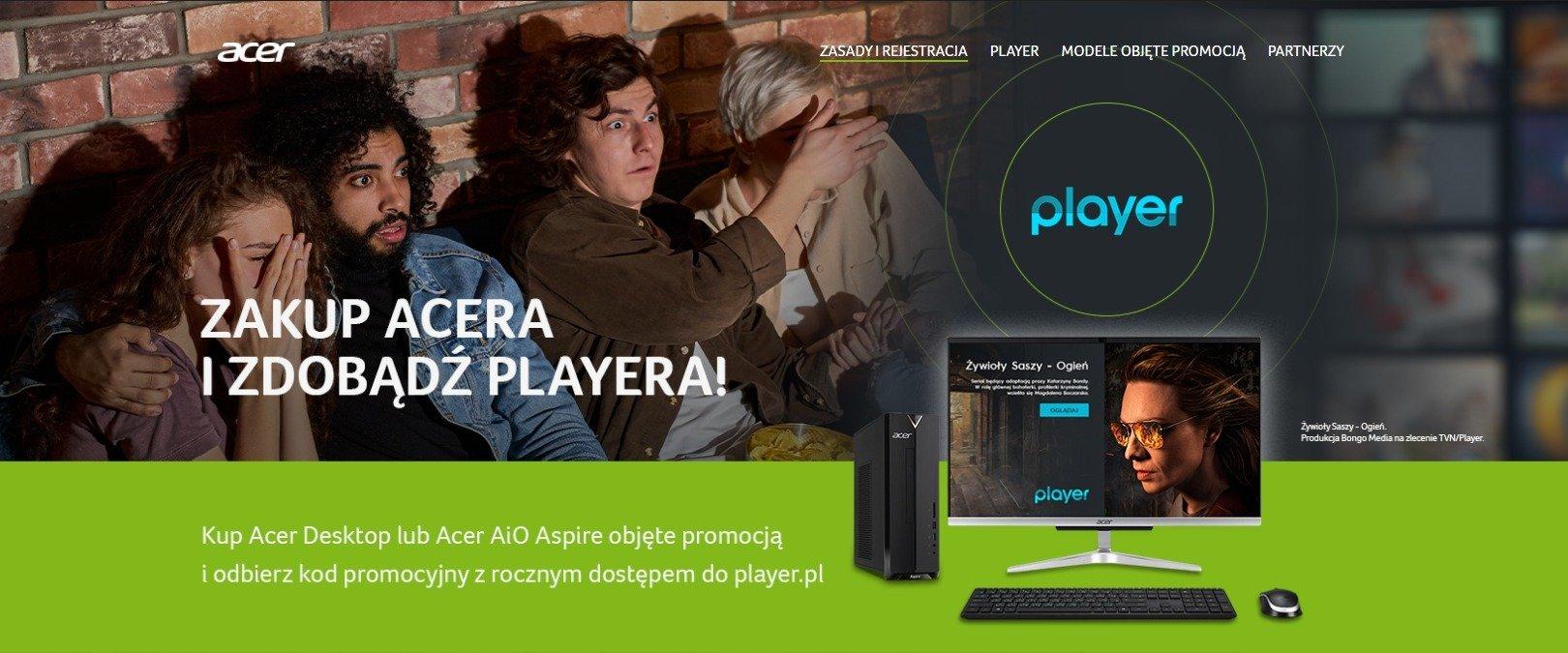 Kup komputer z serii Acer Aspire i odbierz roczną subskrypcję Player.pl za darmo!