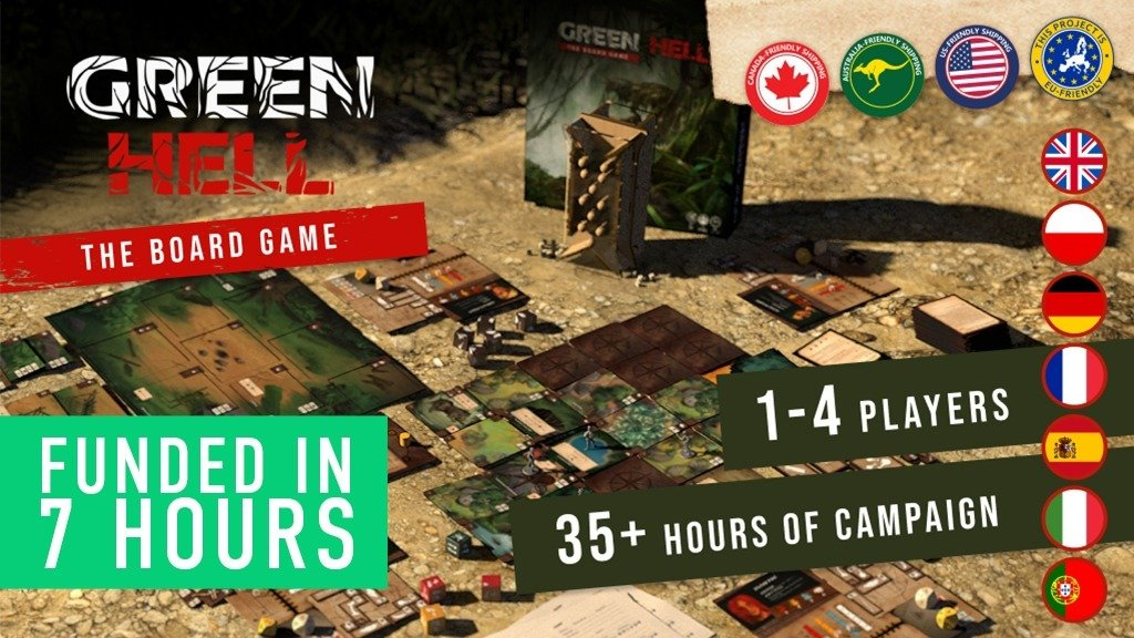 Настолка Green Hell: The Board Game профинансирована на Кикастартере за 7 часов!