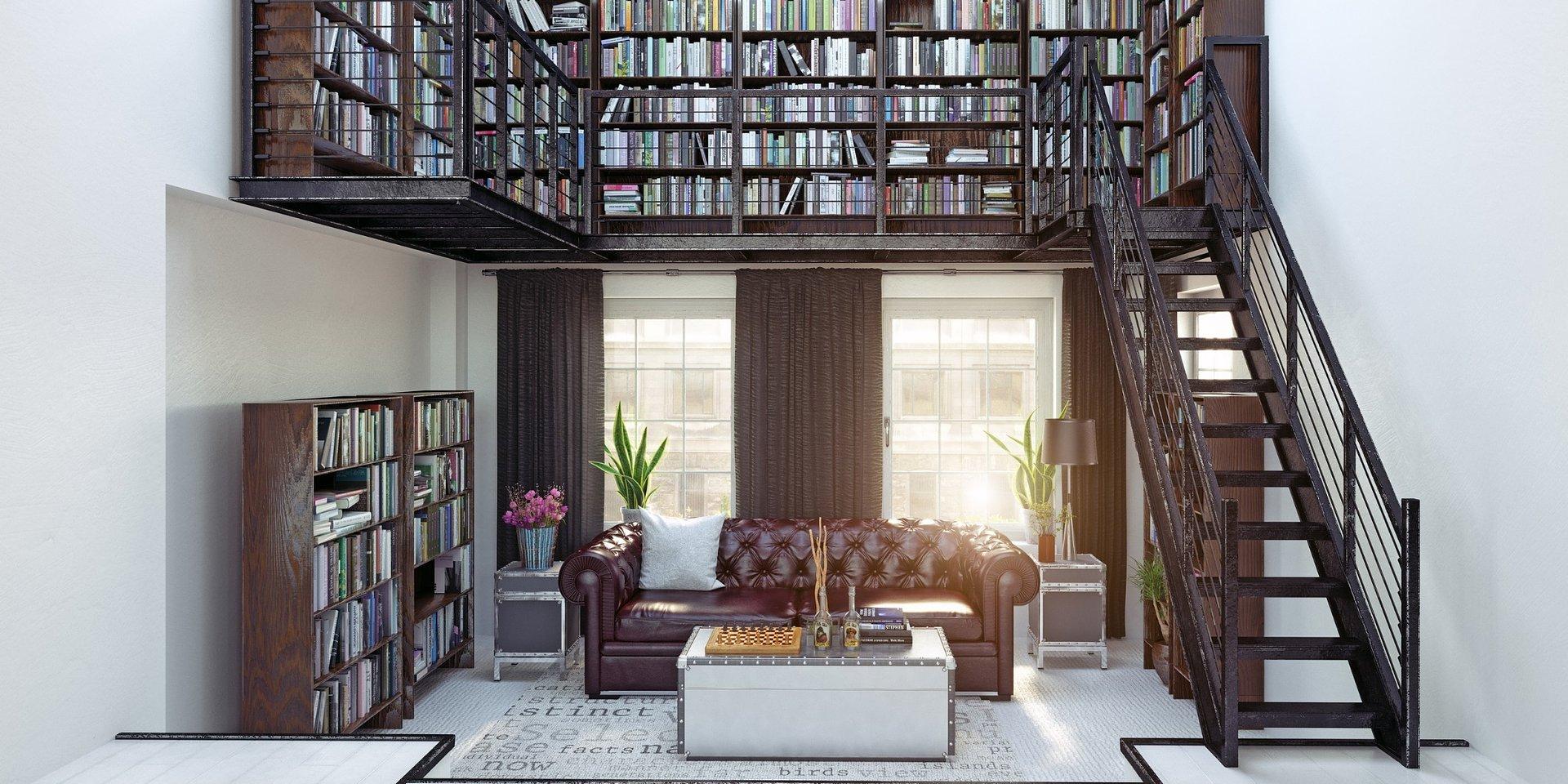 Książki w salonie - biblioteczka podświetlana LED
