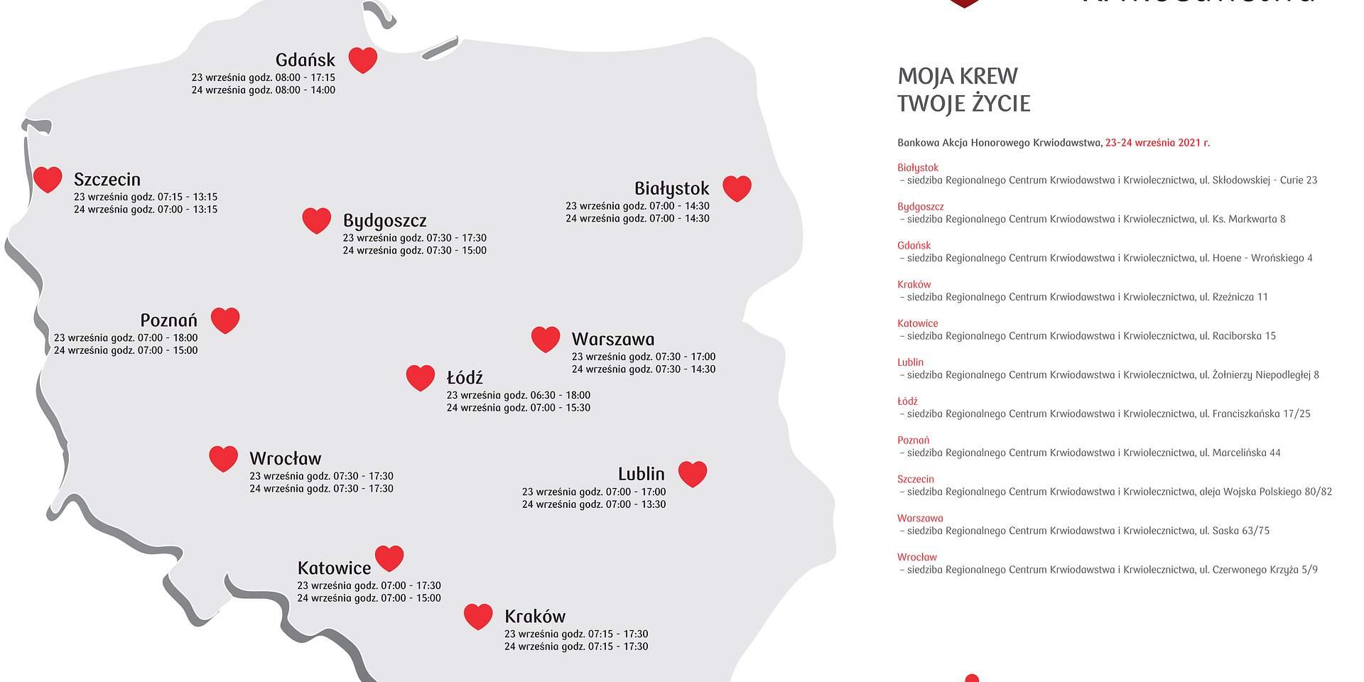 Jesienna Bankowa Akcja Honorowego Krwiodawstwa w Szczecina– 23 i 24 września.