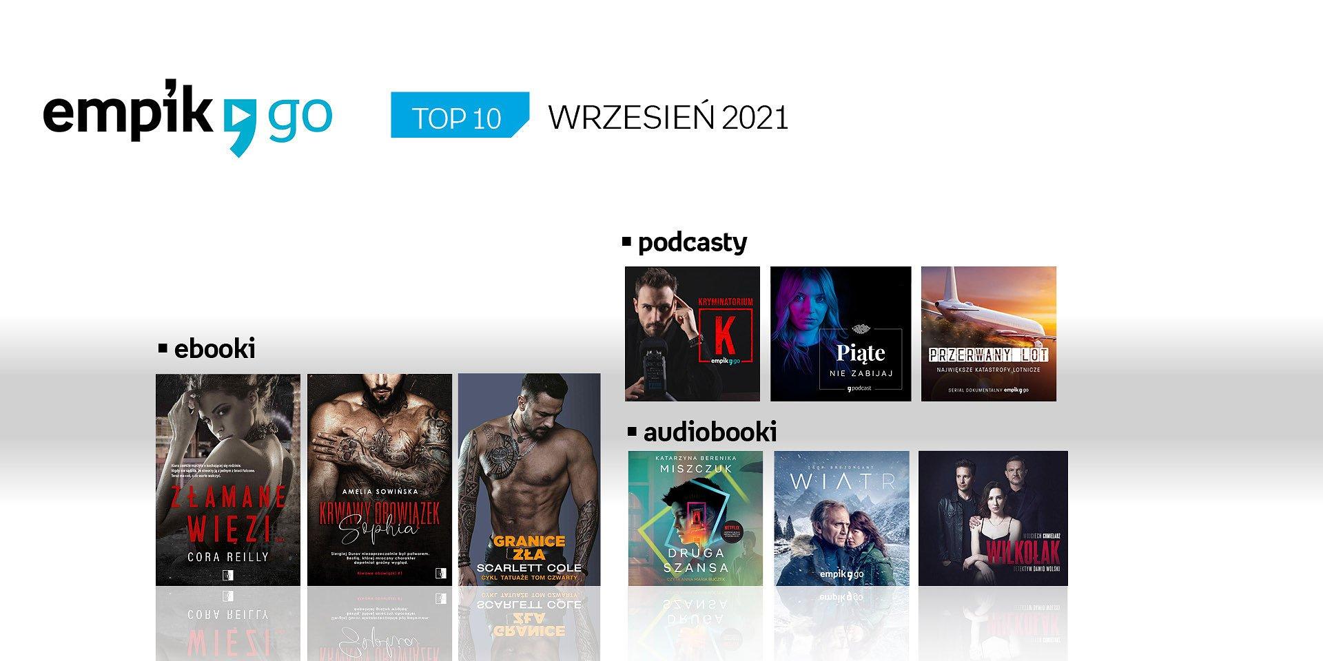 Lista TOP 10 audiobooków, e-booków i podcastów w aplikacji Empik Go we wrześniu