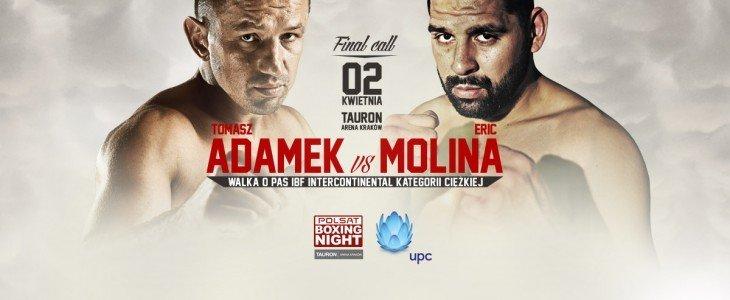 Tomasz Adamek przeciwko Erickowi Molinie na Polsat Boxing Night w Telewizji Cyfrowej UPC
