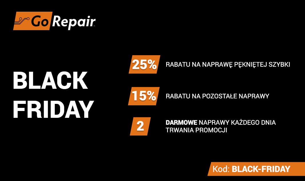 Black Friday w GoRepair – dwie darmowe naprawy każdego dnia promocji oraz ceny napraw niższe nawet o 25%!