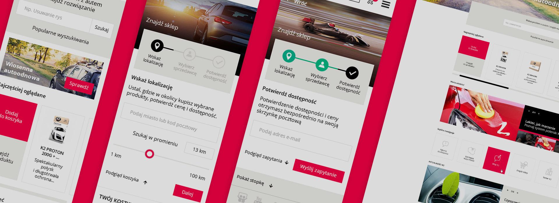 """Produkty do pielęgnacji samochodów """"K2"""" - projekt """"Mobile First"""" nowej strony internetowej."""