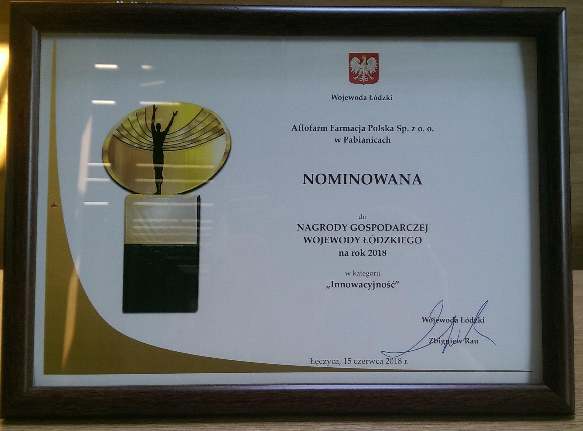 Desmoxan z nominacją Nagrody Gospodarczej Wojewody Łódzkiego