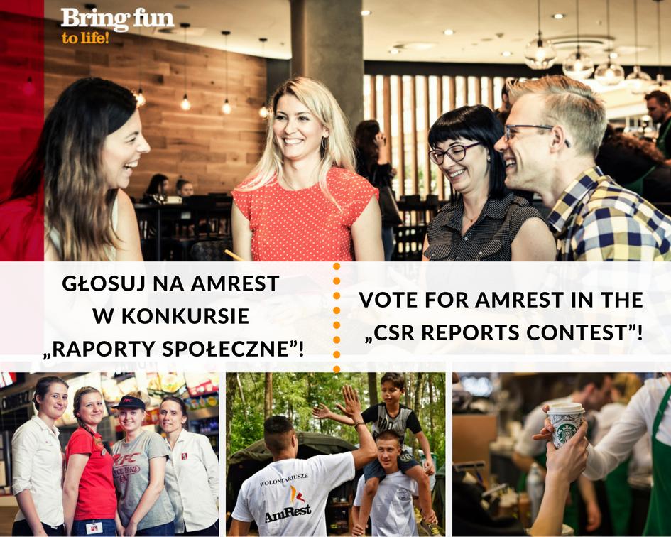 """AmRest w konkursie """"Raporty Społeczne"""" – głosowanie internautów trwa!"""